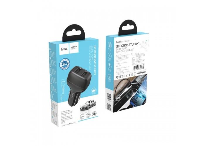Автомобильное зарядное устройство Hoco Z36, 2USB, 2.4A + кабель Type-C (Черный)