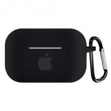 Силиконовый чехол для Apple AirPods Pro Silicone Case с logo и карабином (Black)