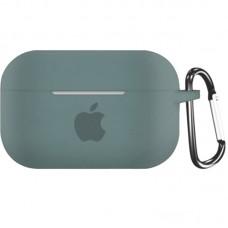 Силиконовый чехол для Apple AirPods Pro Silicone Case с logo и карабином (Pine Green)