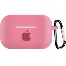 Силиконовый чехол для Apple AirPods Pro Silicone Case с logo и карабином (Pink)