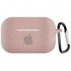 Силиконовый чехол для Apple AirPods Pro Silicone Case с logo и карабином (Pink Sand)