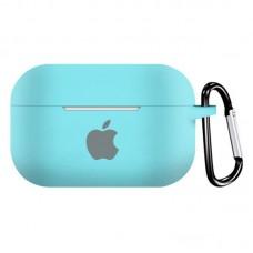 Силиконовый чехол для Apple AirPods Pro Silicone Case с logo и карабином (Sea Blue)