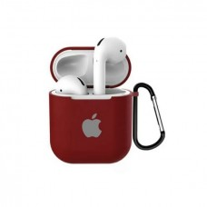 Силиконовый чехол для Apple AirPods 1/2 Silicone Case с logo и карабином (Camelia White)