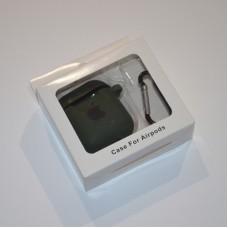 Силиконовый чехол для Apple AirPods 1/2 Silicone Case с logo и карабином (Forest Green)