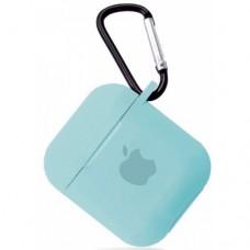 Силиконовый чехол для Apple AirPods 1/2 Silicone Case с logo и карабином (Light Blue)