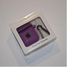 Силиконовый чехол для Apple AirPods 1/2 Silicone Case с logo и карабином (Purple)