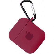 Силиконовый чехол для Apple AirPods 1/2 Silicone Case с logo и карабином (Rose Red)