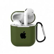 Силиконовый чехол для Apple AirPods 1/2 Silicone Case с logo и карабином (Virid)