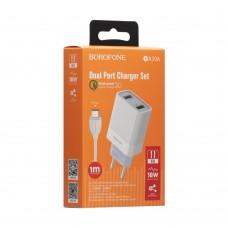 Сетевое зарядное устройство Borofone BA39A 2 USB 18W QC3.0 + кабель Micro USB (Белый)