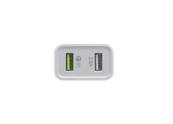 Сетевое зарядное устройство Borofone BA39A 2 USB 18W/3A QC3.0 + кабель Type-C (Белый)