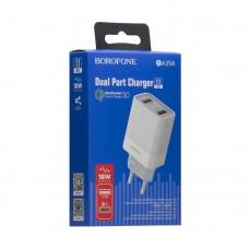 Сетевое зарядное устройство Borofone BA39A 2 USB 18W/3A QC3.0 (Белый)