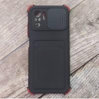 Чехол Corner Protection с шторкой для камеры + отсек для кредитной карты для XiaoMi Redmi Note 10 (Черный)