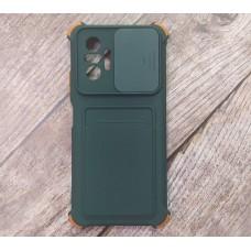 Чехол Corner Protection с шторкой для камеры + отсек для кредитной карты для XiaoMi Redmi Note 10 Pro (Зеленый)