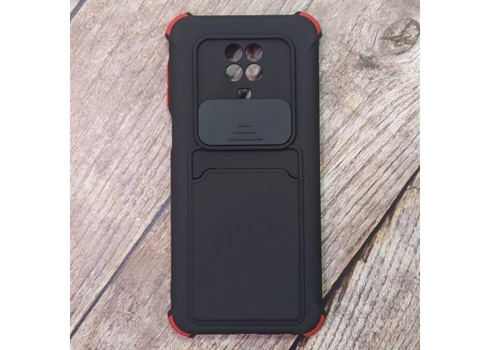 Чехол Corner Protection с шторкой для камеры + отсек для кредитной карты для XiaoMi Redmi Note 9 Pro (Черный)