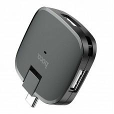 Переходник конвертер USB Hub Hoco HB11 с Type-C на 3*USB (Черный)