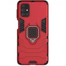 Ударопрочный чехол Iron Man магнитный с кольцом для Samsung Galaxy A71 (Красный)