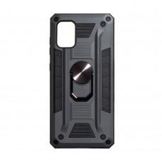 Чехол Robot Case с железным кольцом-подставкой для Samsung Galaxy A71 / A715 (Серый)