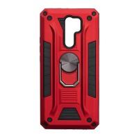 Чехол Robot Case с железным кольцом-подставкой для XiaoMi Redmi 9 (Красный)