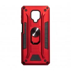 Чехол Robot Case с железным кольцом-подставкой для XiaoMi Redmi Note 9 Pro / Note 9s (Красный)
