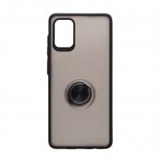 Чехол TOTU с железным кольцом для Samsung Galaxy A71 / A715 (Черный)