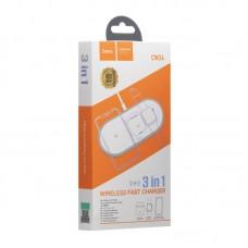 Беспроводная зарядка Hoco CW24 3в1 iPhone + Apple watch + AirPods White с функцией быстрой зарядки