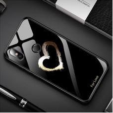 Стеклянный чехол для XiaoMi Mi A2 (For love) black