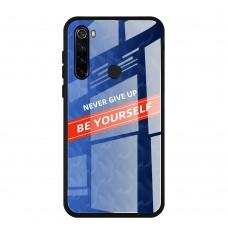 Стеклянный чехол для XiaoMi Redmi Note 8 Be yourself (Синий)
