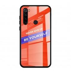 Стеклянный чехол для XiaoMi Redmi Note 8 Be yourself (Оранжевый)