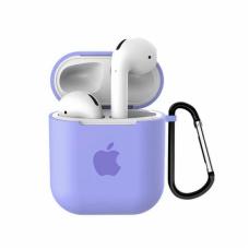 Силиконовый чехол для Apple AirPods 1/2 Silicone Case с logo и карабином (Lilac)