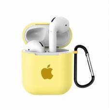 Силиконовый чехол для Apple AirPods 1/2 Silicone Case с logo и карабином (Mellow Yellow)
