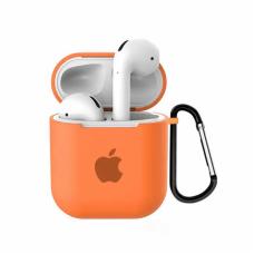 Силиконовый чехол для Apple AirPods 1/2 Silicone Case с logo и карабином (Orange)