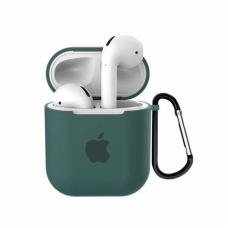 Силиконовый чехол для Apple AirPods 1/2 Silicone Case с logo и карабином (Pine Green)