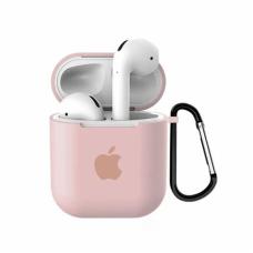 Силиконовый чехол для Apple AirPods 1/2 Silicone Case с logo и карабином (Pink Sand)