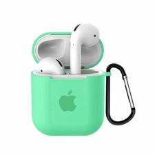 Силиконовый чехол для Apple AirPods 1/2 Silicone Case с logo и карабином (Spearmint)