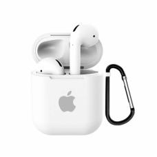 Силиконовый чехол для Apple AirPods 1/2 Silicone Case с logo и карабином (White)