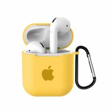 Силиконовый чехол для Apple AirPods 1/2 Silicone Case с logo и карабином (Yellow)