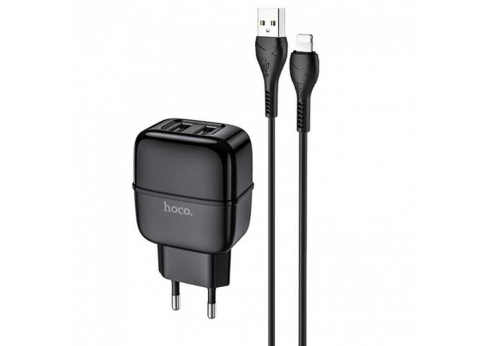 Сетевое зарядное устройство Hoco C77A, 2USB, 2.4A + кабель Apple Lightning (Черный)