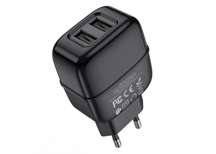 Сетевое зарядное устройство Hoco C77A, 2USB, 2.4A + кабель USB - Micro USB (Черный)