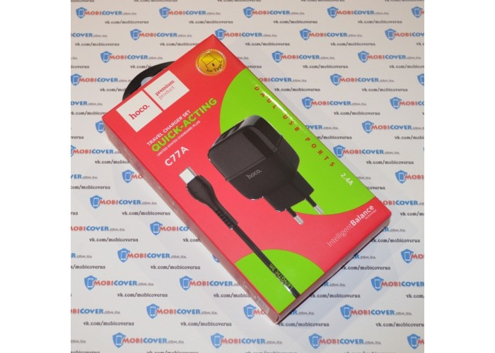 Сетевое зарядное устройство Hoco C77A, 2USB, 2.4A + кабель Type-C (Черный)