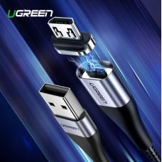 Магнитный кабель Ugreen USB - Micro USB, 2.4A, 1м (черный)