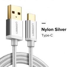 Ugreen кабель USB - Type-C, 3.0A, 1м (Серебристый)